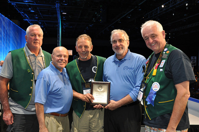President Michael Yerkes, along with Kevin Flaherty, NBA John Casciano and CLAN Editor Bob Damatin accept 2016-2018 First Place Award for Branch #34's CLAN.