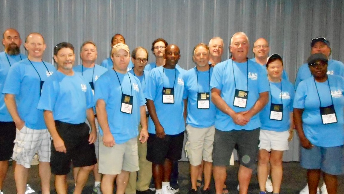 he Branch #34 delegation, all automatic contributors to the NALC's Letter Carrier Political Fund (LCPF) wore their blue LCPF shirts on the fourth day of the convention.