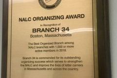2018 NALC Best Organizing Award to Boston Branch #34 its percentage of 98.7% Union Membership.