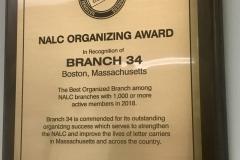 2018 NALC Best Organizing Award to Boston Branch #34 its percentage of 98.7% Union Membership.