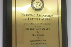 The NALC's Branch Publication Competition 2016-2018 Fist Place Award for Best Website goes to nalcbranch34.com