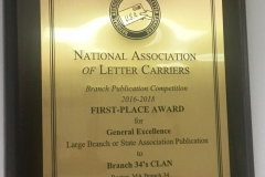 The NALC's Branch Publication Competition 2016-2018 Fist Place Award for General Excellence in the Large Branch or State Associations category was awarded to Branch #34's CLAN for the sixth consecutive convention (2008 -2018).