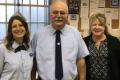 Wellesley Sq. Retiree Kevin Leach is congratulated by Union Steward Toni Alexander & Vice President Bernadette Romans
