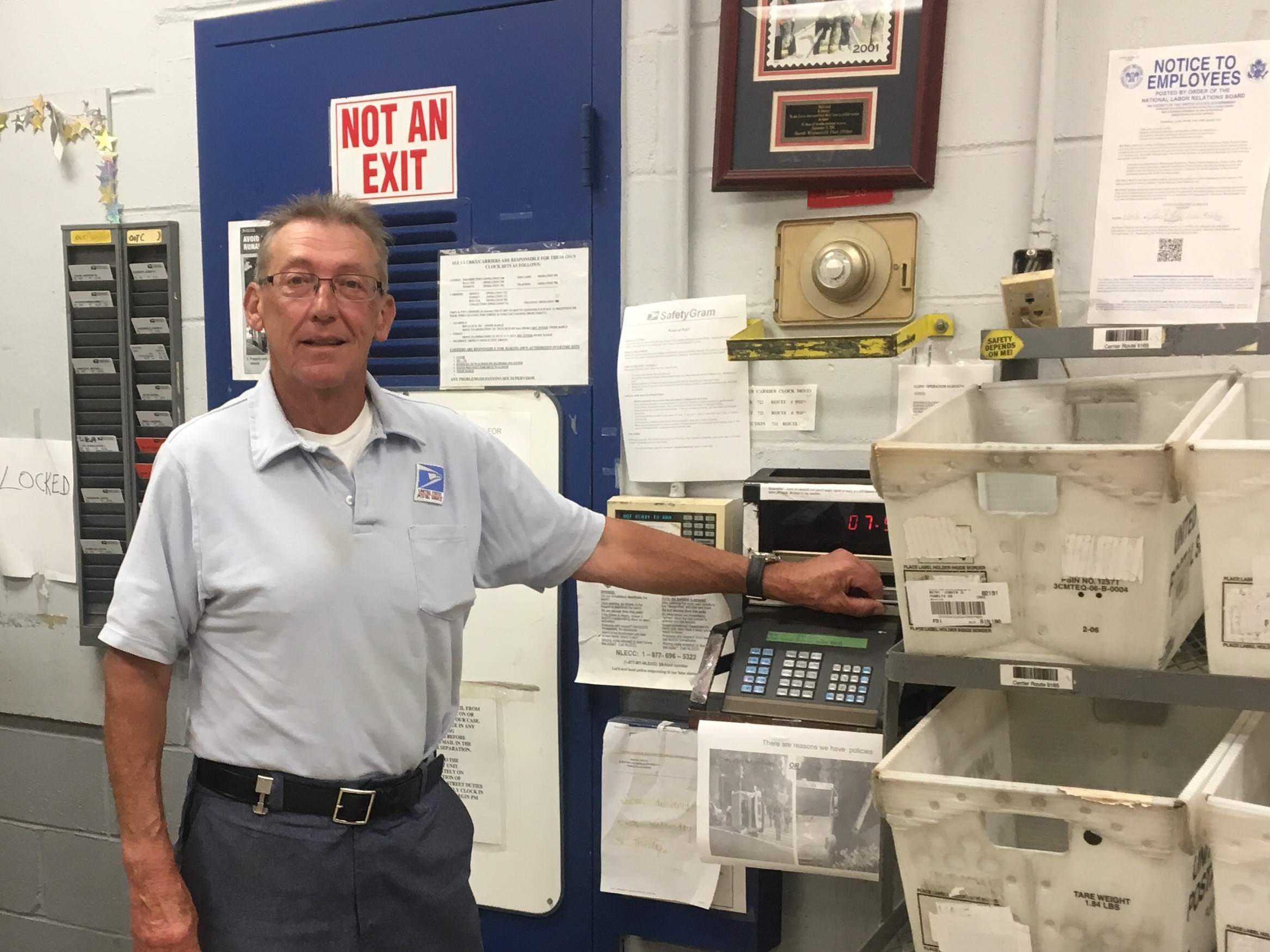 North Weymouth's Bill Goodwin clocks in on his last day following a thirty-year career.