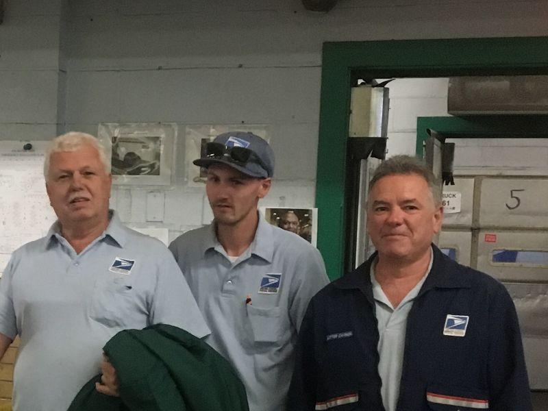 Arlington Stewards Sean Mullett and Gerry McCarthy pose with newest Branch #34 Retiree Steve Dwyer.