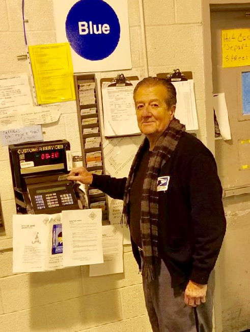 """Everyone moves up a slot. Boston's most senior Carrier, Fort Point's Joe Carrillo makes his """"Last Punch"""" after 50-years of service."""