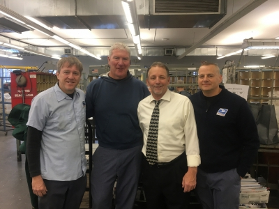 Belmont's newest retiree James Fitzgerald with Belmont Stewards Sal Celeste and Dave D'Agostino