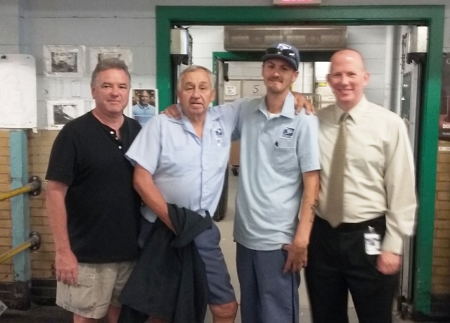 Arlington's newest retiree John Strelis poses with Stewards Gerry McCarthy, Sean Mullett and Branch #34 Secretary Treasurer Michael Murray.