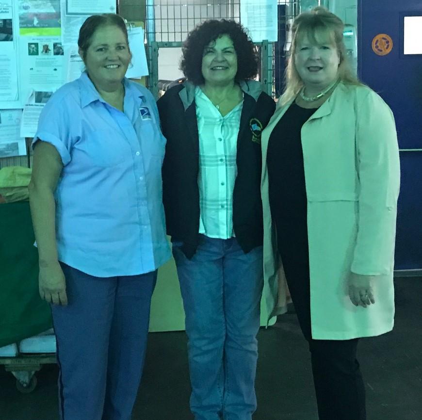 Needham Shop Steward Diane Butera & Vice President Bernadette Romans congratulate Mary Cassidy.
