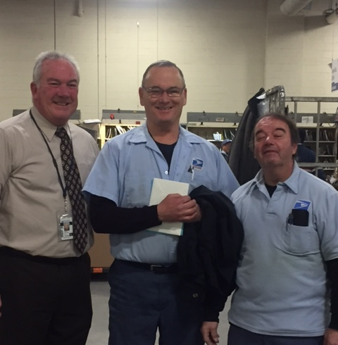 Cambridge Porter Square's Ron French poses with Branch #34 Executive VP Kevin Flaherty (L) and Steward Bill Crescitelli on his last day following more than 37 years of service.