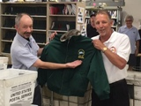 Weston's Scott Hanley is presented with a Branch #34 jacket upon his retirement.