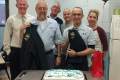 Joe Roche (R) and Dan Hynes pose with Branch Secretary Treasurer Mike Murray, JFK Steward Bob Amirault and coworkers Phil Tammaro and Ann Collier