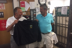 President Mike Yerkes presents West Newton Steward Sal Ledda a Branch #34 Retirement jacket on his last day, August 31st