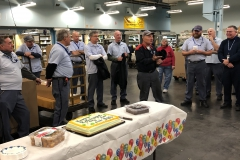 Bob Cusolito says farewell to Woburn coworkers.