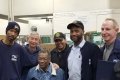 Roxbury Retirees Barnley Corbin and Joseph Frechette Roxbury are congratulated by Shop Steward Sammy Smith & Co-Workers.